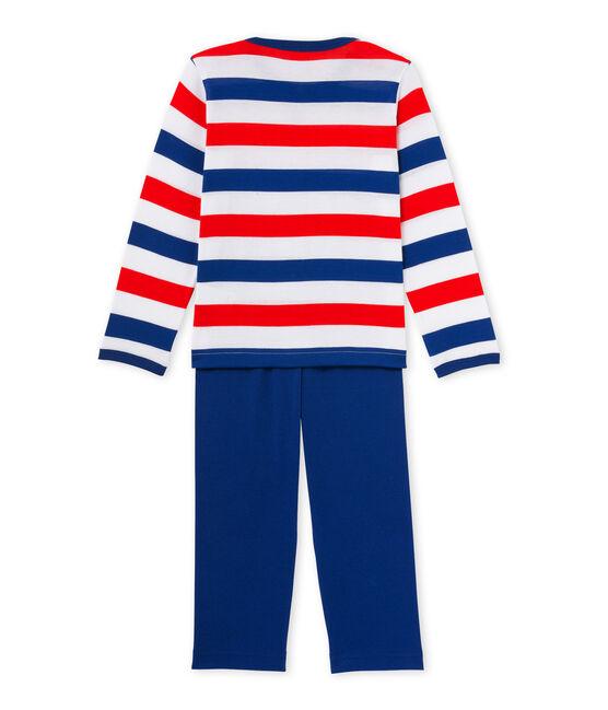 Pyjama garçon en jersey rayé blanc Ecume / bleu Source