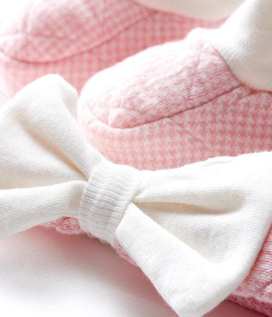 Lot bandeau et chaussons bébé fille en tubique matelassé lot .
