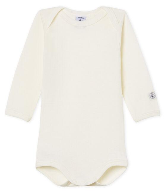 Body manches longues bébé en laine et coton blanc Marshmallow