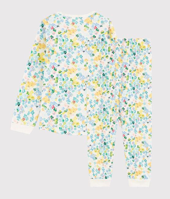 Pyjama à fleurs aquarellées petite fille en molleton blanc Marshmallow / blanc Multico