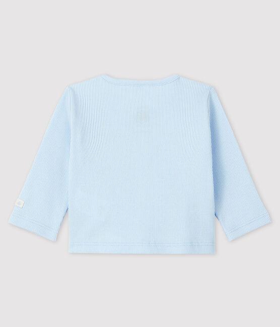 Cardigan bébé en côte 2x2 bleu Fraicheur