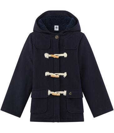 Duffle coat fille en drap de laine bleu Smoking