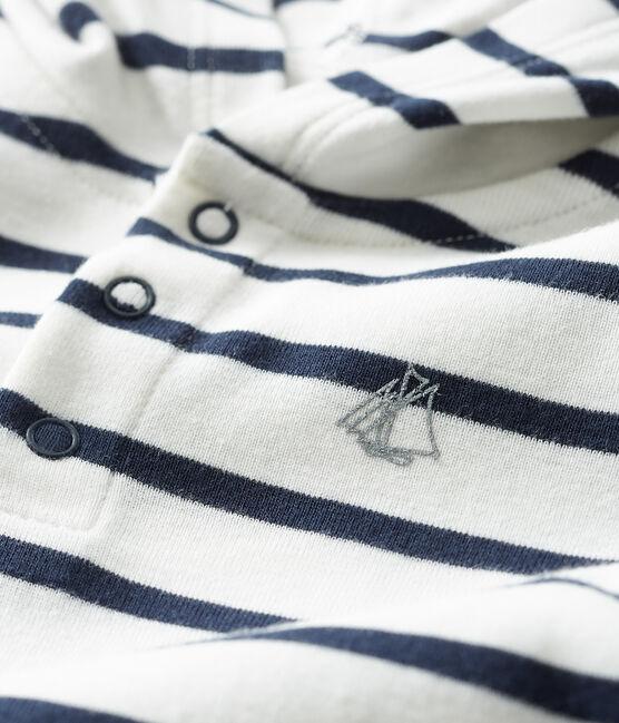 Body à capuche bébé garçon blanc Marshmallow / bleu Smoking