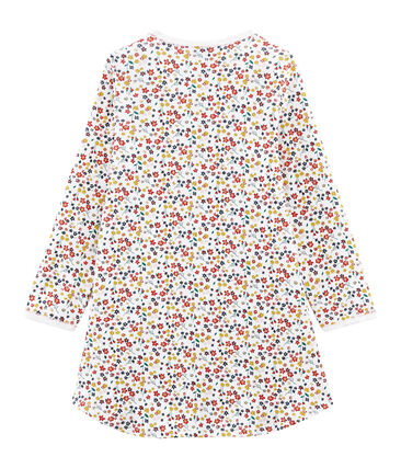 Chemise de nuit petite fille en côte blanc Marshmallow / blanc Multico