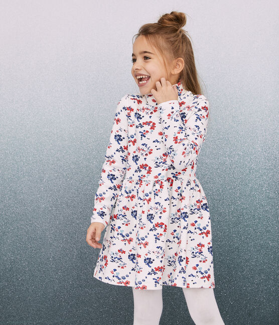 Robe manches longues enfant fille blanc Marshmallow / blanc Multico