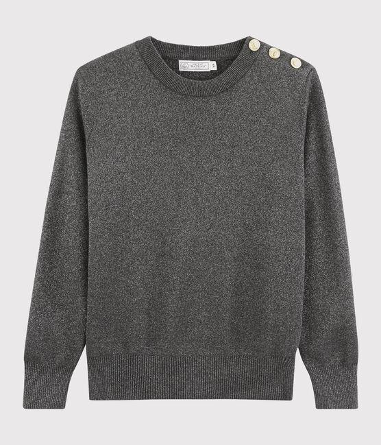 Pull brillant coton Femme noir City / gris Argent
