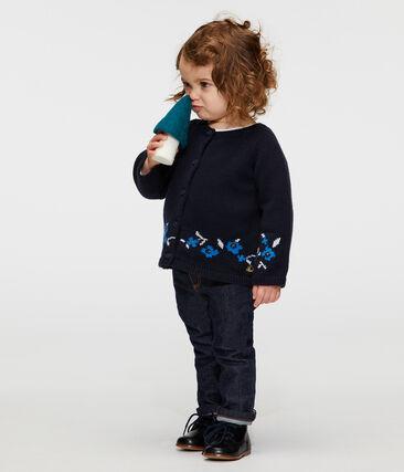Cardigan bébé fille en tricot laine et coton bleu Smoking / blanc Multico