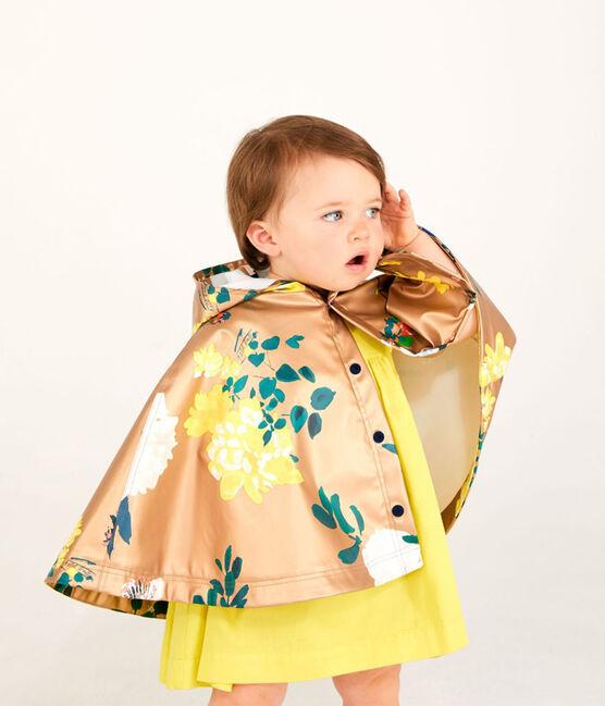 Cape de pluie imprimée bébé fille marron Cuivre / blanc Multico
