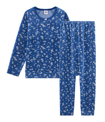 Pyjama petite fille en velours bleu Major / blanc Multico