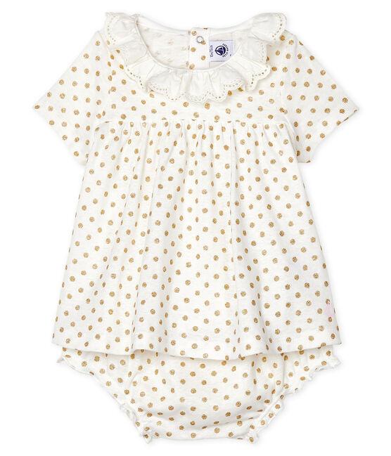 Ensemble deux pièces bébé fille blanc Marshmallow / jaune Or