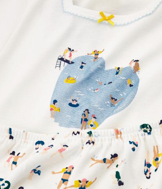 Pyjacourt petite fille en côte blanc Marshmallow / blanc Multico Cn