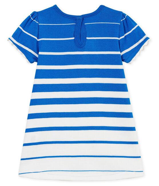Robe manches courtes rayée bébé fille bleu Riyadh / blanc Marshmallow Cn