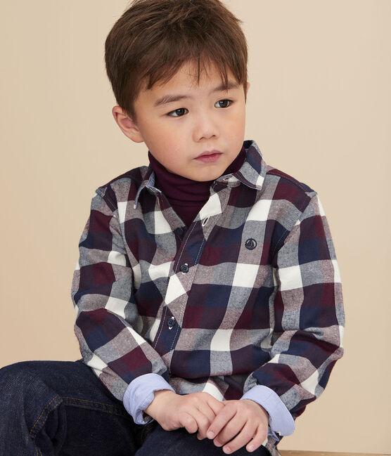 Chemise à carreaux enfant garçon blanc Marshmallow / blanc Multico