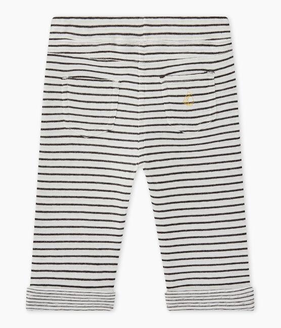 Pantalon bébé garçon rayé blanc Marshmallow / noir City