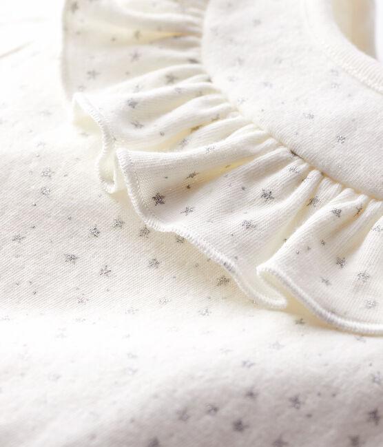 Blouse manches longues bébé fille blanc Marshmallow / gris Argent