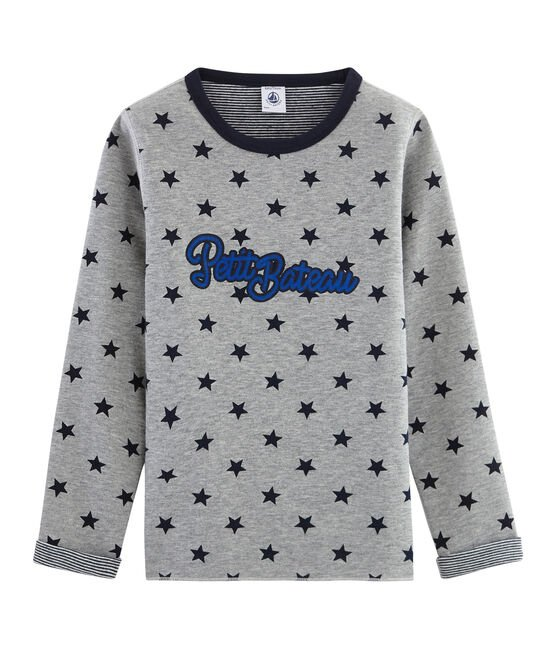 Tee-shirt chaud et réversible enfant garçon gris Subway / bleu Smoking