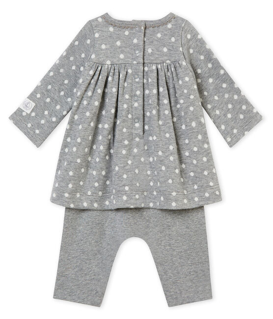 Robe legging bébé fille gris Subway / blanc Multico