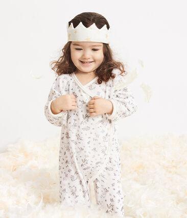Couronne bébé en côte blanc Marshmallow / jaune Or