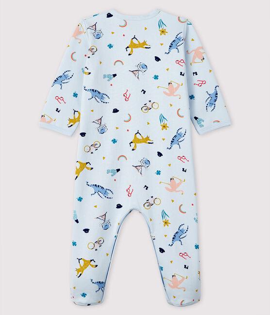 Dors-bien bleu à imprimé animaux bébé en molleton bleu Fraicheur / blanc Multico