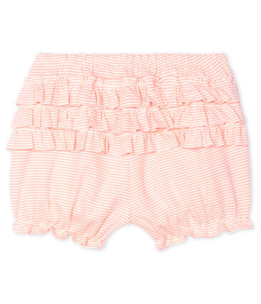Culotte bloomer bébé fille milleraies rose Patience / blanc Marshmallow