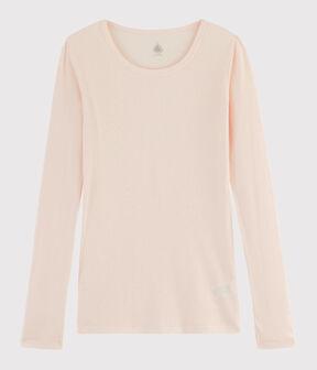 T-shirt laine et coton Femme rose Fleur