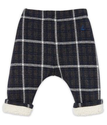 Pantalon bébé garçon à carreaux doublé sherpa noir City / blanc Multico