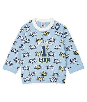 Sweatshirt bébé garçon en molleton bleu Jasmin / blanc Multico