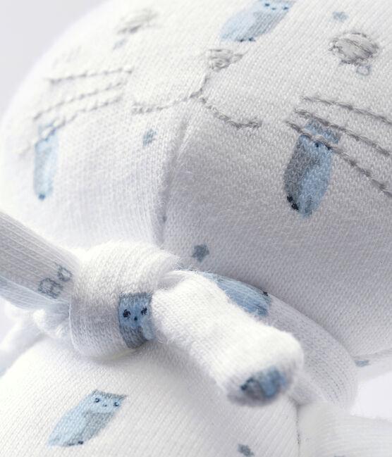 Doudou chat jersey imprimé blanc Marshmallow / blanc Multico