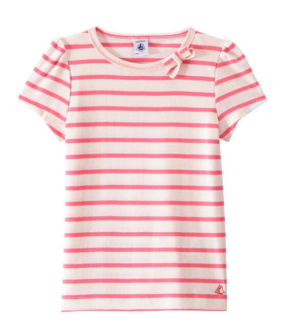 T-shirt fille à rayure marinière blanc Marshmallow / rose Petal
