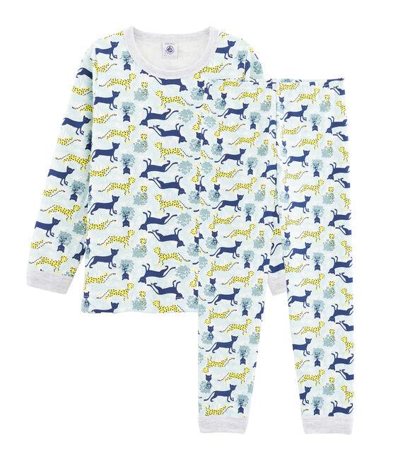 Pyjama petit garçon en molleton blanc Marshmallow / blanc Multico