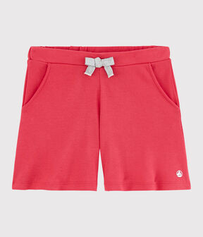 Short en coton enfant fille rose Groseiller