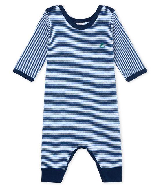 Dors bien sans pieds bébé garçon en côte bleu Major / blanc Marshmallow
