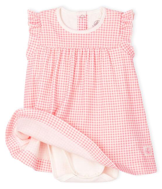 Body robe vichy rose bébé fille en côte blanc Marshmallow / rose Gretel
