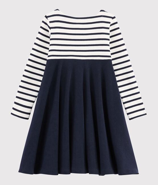 Robe manches longues enfant fille blanc Marshmallow / bleu Smoking
