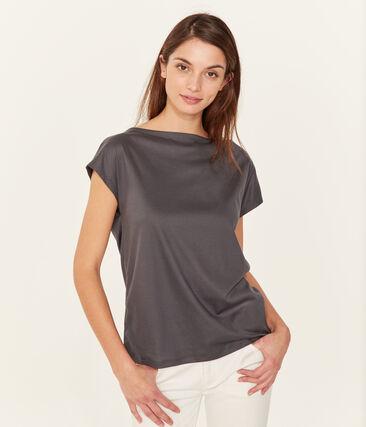 Tee-shirt manches courtes femme en coton sea island gris Maki