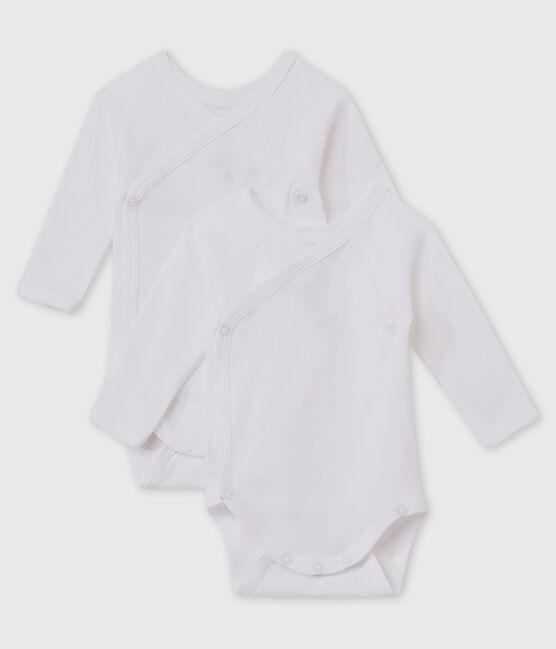 Lot de 2 bodies croisés blancs manches longues bébé en coton biologique lot .