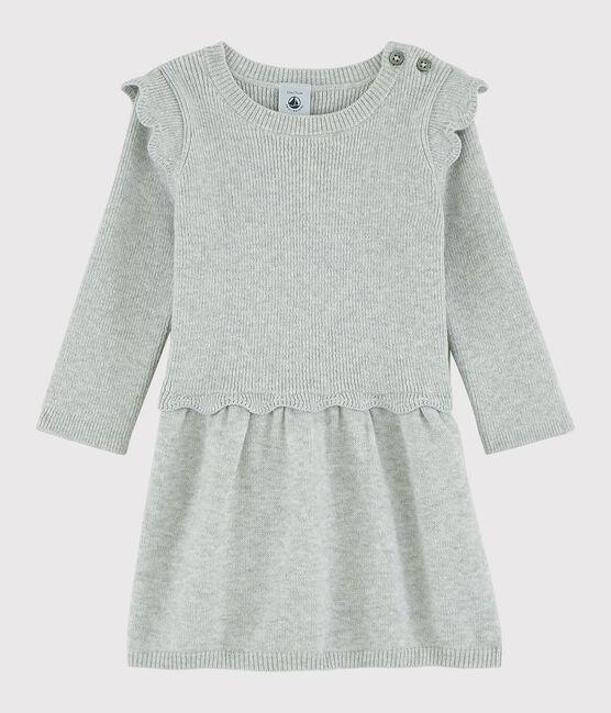 Robe bébé fille en laine et coton gris Beluga