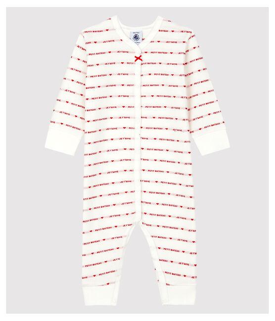 Dors-bien sans pieds Petit Bateau Je T'aime bébé en jacquard blanc Marshmallow / rouge Terkuit