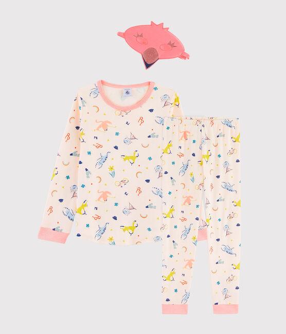 Pyjama déguisement flamand rose petite fille en côte rose Fleur / blanc Multico