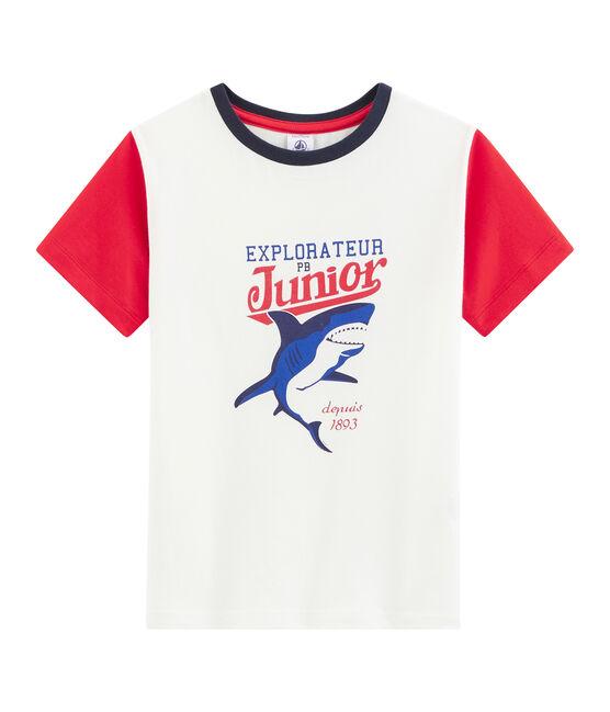 Tee-shirt enfant garcon blanc Marshmallow / rouge Peps