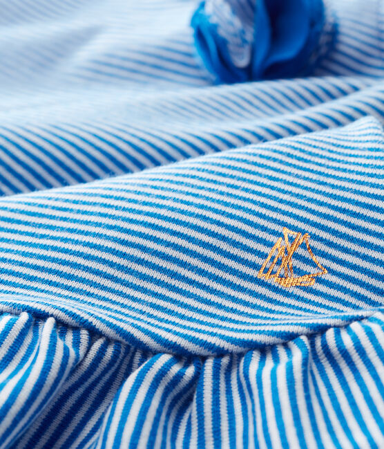 Robe sans manches bébé fille bleu Riyadh / blanc Marshmallow