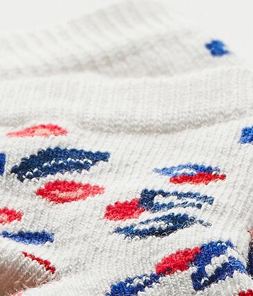 Chaussettes bébé fille imprimées blanc Marshmallow / blanc Multico