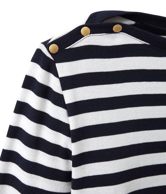 T-shirt femme manches longues rayé bleu Smoking / blanc Marshmallow