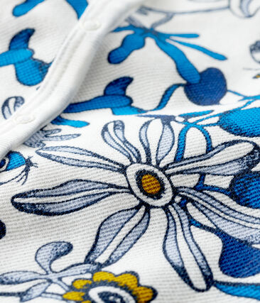 Combicourt imprimé bébé fille blanc Marshmallow / bleu Haddock