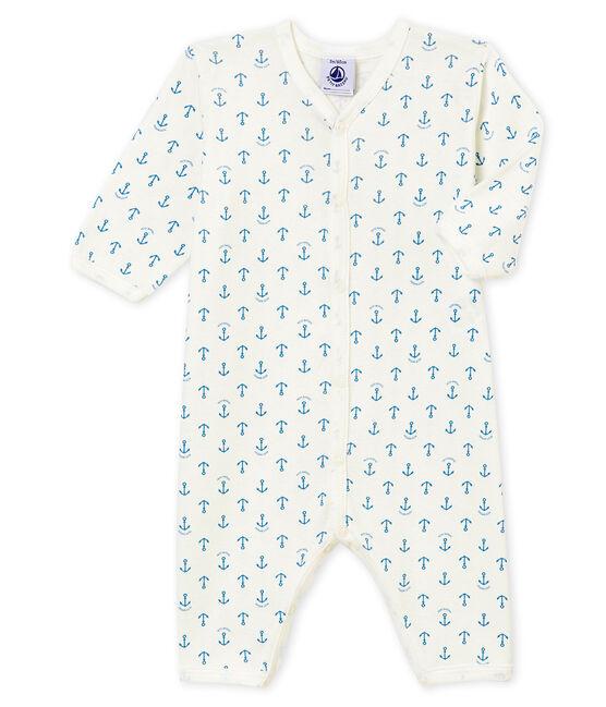 Dors bien sans pieds bébé garçon blanc Marshmallow / bleu Alaska