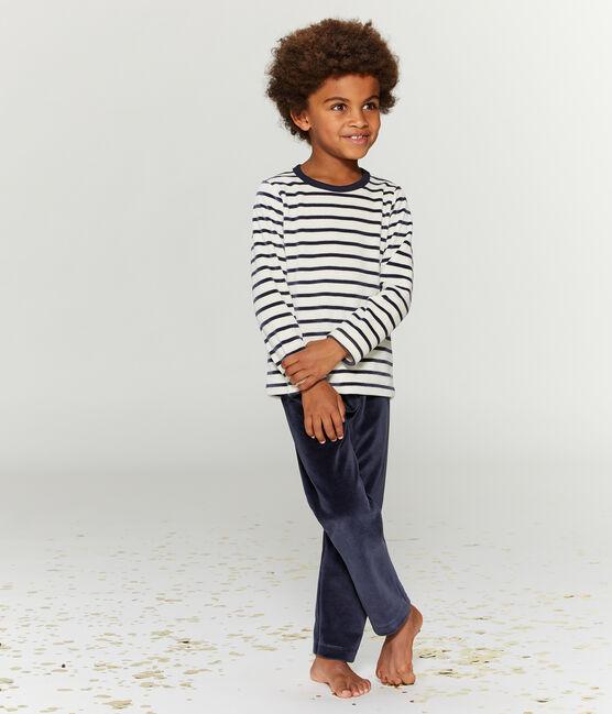 Pyjama petit garçon en velours bleu Smoking / beige Coquille