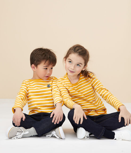 Marinière enfant fille/garçon jaune Boudor / blanc Marshmallow