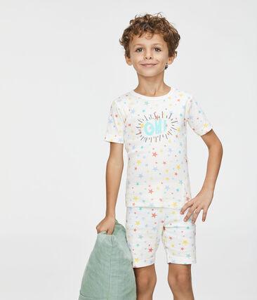 Pyjacourt petit garçon coupe très ajustée blanc Marshmallow / blanc Multico