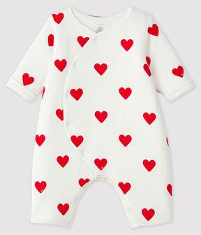 Combinaison longue cœurs rouges bébé fille en côte blanc Marshmallow / rouge Terkuit