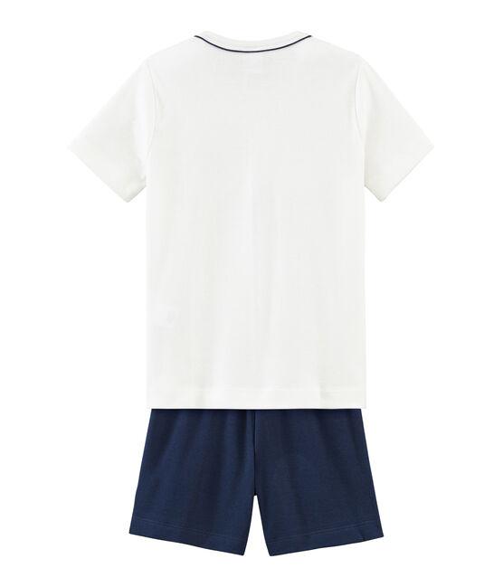 Pyjacourt petit garçon en côte bleu Haddock / blanc Marshmallow